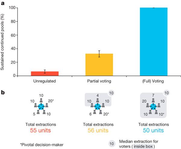 Вверху: процент продолженных игр после первого голосования. При индивидуальном выборе (красный столбик) меньше 10% игр продолжались следующим поколением, при частичном голосовании с тремя кооператорами (желтый столбик) продолжались около 30% игр, и более 95% игр продолжались, если голосовали все (синий столбик). Внизу показан пример трех реальных раундов: цифры показывают, сколько каждый игрок предложил забрать, серыми прямоугольниками обведены голосующие; в играх с голосованием в уголке отмечено среднее значение (мода), которое досталась голосующим. Рисунок из обсуждаемой статьи в Nature