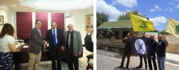Слева: Роберто Фиоре (Forza Nuova), Омран аль-Зуби (сирийский министр информации), Набиль аль-Малази. Справа: Корнель Савиньский (Евразийский союз молодёжи) и Бартош Бекер (Фаланга), создающий ныне партию Zmiana, с членами Хизбаллы.